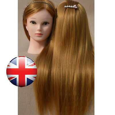 "26"" 30% Real Human Hair Practice Training Head Mannequin Doll + Table Clamp UK"