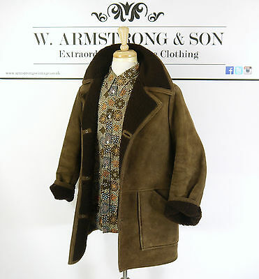 Men's Vintage ANTARTEX Brown REAL SHEEPSKIN LEATHER Shearling 70's BOHO Coat L