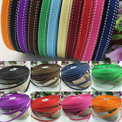 10/20/50 Yards 10mm Stitched Grosgrain Ribbon Bow Craft Decor Gift DIY 11 Colors