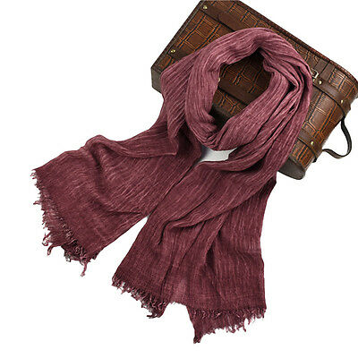 Men's Pure Cotton Light Warm Plaid Solid Fringed Long Fringe Scarf Wrap Shawl