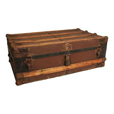 Vintage STEAMER TRUNK train luggage BROWN chest low coffee table antique storage