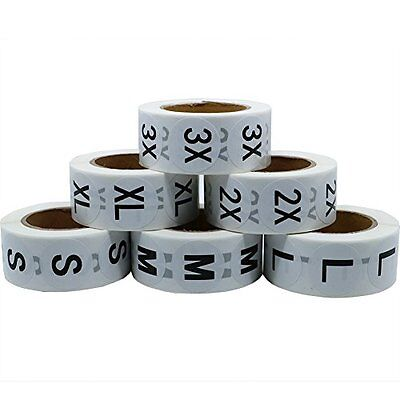 Hybsk(TM) White Round Clothing Size Stickers Adhesive Labels For Retail Appar...