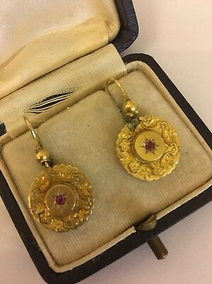 Victorian Antique Yellow Gold Ornate Large Earrings Ball Rare Star Ruby