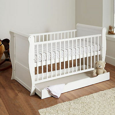 4Baby White Wood 3 In 1 Sleigh Cot Bed & Drawer With Maxi Air Cool Mattress