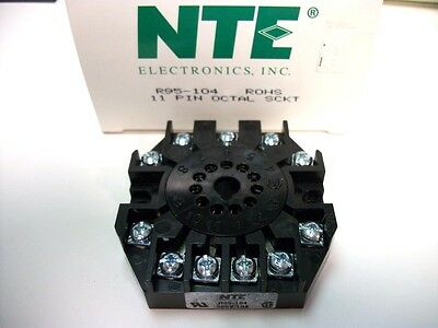 NTE Relay Socket R95-104 - 11−Pin Octal Socket - Panel/Surface Mount -Screw Term
