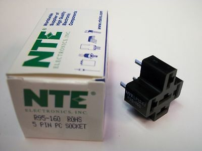 NTE Relay Socket R95-160 - 5−Pin PC Board Socket - for 50A R51 Automotive Relays