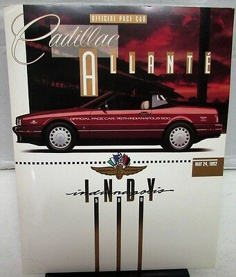 1992 Indy 500 Official Pace Car Press Kit 1993 Cadillac Allante GM Media Release