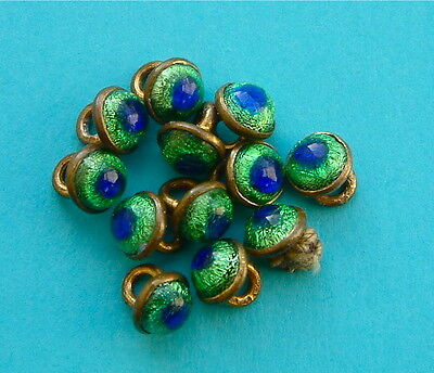 12 Antique Victorian  Peacock Eye Glass in Brass Demi Buttons
