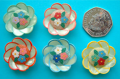 5 x 30mm Vintage Colourful Celluloid Wafer Flower Buttons