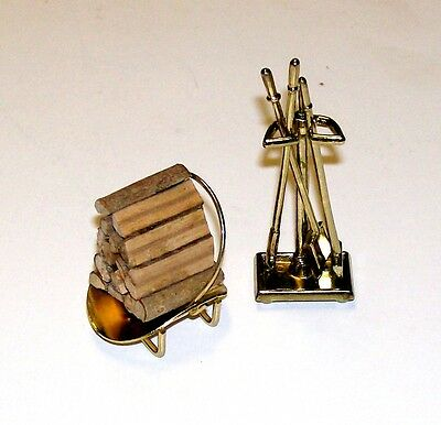 Dollhouse Miniatures Combo Fireplace Tools,  Log Holder & Logs for the Fireplace