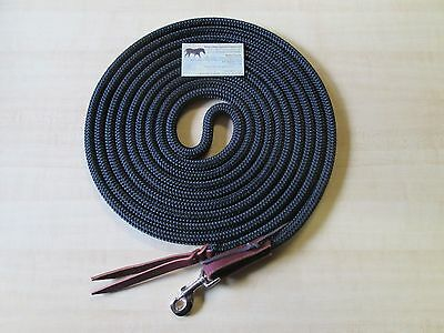 Rose Lodge 22' Yacht Rope Long Lunge Line Lead w Leather End, Snap, BLACK