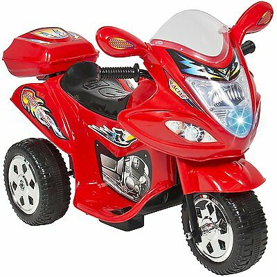 Kids Ride On Motorcycle 6V Toy Battery Powered Electric 3 Wheel Bicycle-Red-New
