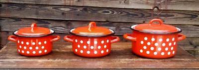 3 Fab Vintage Retro Red & White Spotty Enamel Pans with Lids !