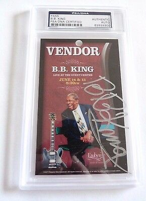 BB King Signed Autographed PSA Certified & Slabbed Laminated Vendor Pass