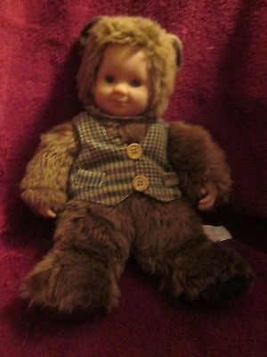 "12"" Anne Geddes - Baby Doll Bear Vinyl Face And Hands -"
