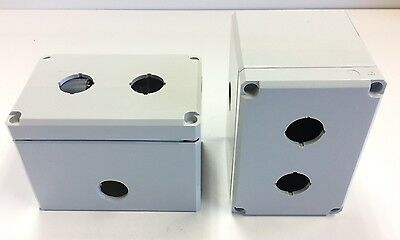Lot Of 2 - Hoffman Q-2PBPCDM Pushbutton Enclosures, Added .800 Dia. Hole, Poly