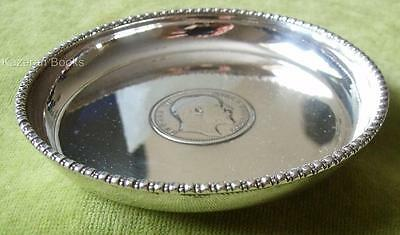 Antique Solid Silver Pin Dish With Inset 1903 Edward VII Indian One Rupee Coin