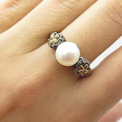 925 Sterling Silver & 14k Gold Real Pearl Unique Design Ring Size 7