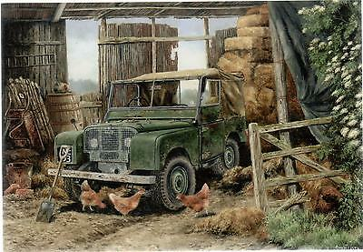 Land Rover Series 1 & Chickens--Greetings Print Card