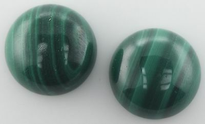 A PAIR OF 10mm ROUND CABOCHON-CUT NATURAL AFRICAN MALACHITE GEMSTONES