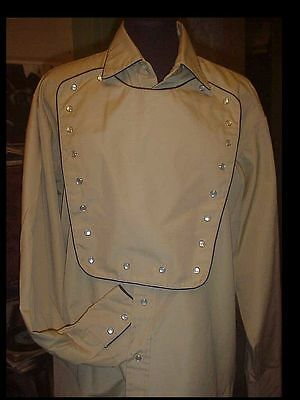 Vintage 80's Men's 46 Bib Front Western Shirt Pearl Snap Buttons by FENTON