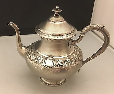 OUTSTANDING Detail!! Antique c1905 French Sterling Silver Guilloche Teapot -L475