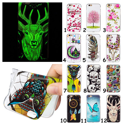 Glow in the Dark Noctilucent Flower Owl Deer TPU Case Cover For Various Phones