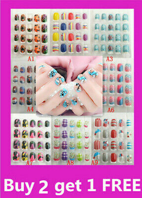20 PC Designer Girls Acrylic False Fake Nail Tips Press Glue Buy 3 Get one FREE!