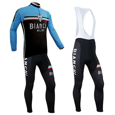 New Long Sleeve Cycling Jersey Suits Bicycle Shirts And Bib Pants Sets Blue Wear