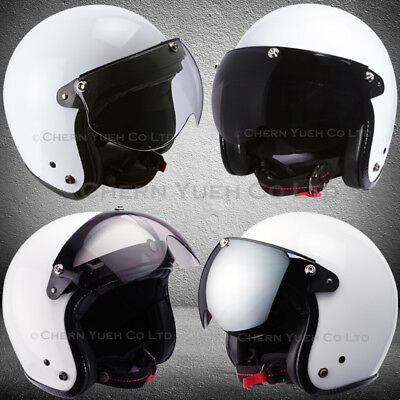 Pilot Style Motorcycle Helmet 3 Snap Visor Face Wind Shield Flip Up Down Mask PC