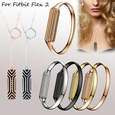 Fashion Stainless Steel Accessory Bangle Pendant Bracelet For Fitbit Flex 2 HOT