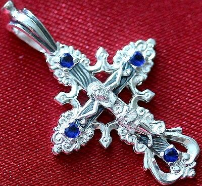 Save and Protect Prayer Medium Silver 925 Cross. Russian Orthodox Jewelry . New