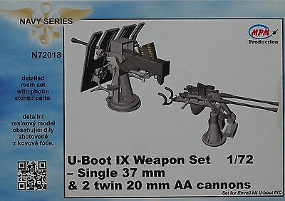 MPM N72018 Weapon Set (Single 37mm & 2 twin 20mm AA Cannons) for U-Boot IXC 1:72