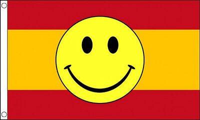 SPAIN SMILEY FACE FLAG 5' x 3' Spanish Eurovision Song Contest Party