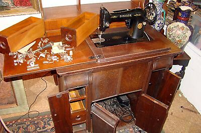 Vintage Singer Treadle Sewing Machine with super decals and loads of accessories