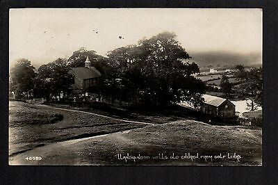 Llandrindod Wells Old Church from Golf Links  - real photographic postcard