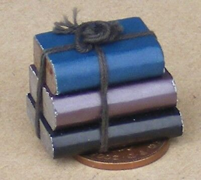 1:12 Scale Dolls House Bundle Of 3 Non Opening Wooden Books Tied With String