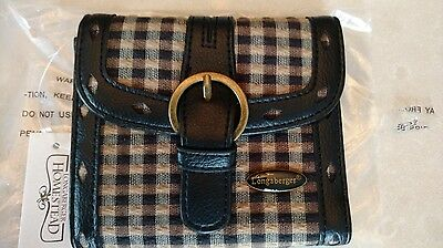 Longaberger Khaki Check Small Wallet, mint in bag never used FREE shipping!