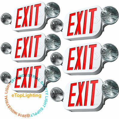 6x LED Exit Sign & Emergency Light – High Output - RED Compact Combo UL COMBO