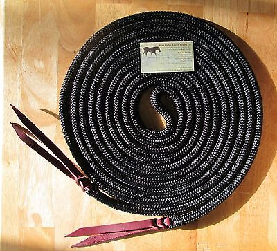 """Rose Lodge 22' x 1/2"""" Yacht Rope Mecate Reins for Slobber Straps or Bosal BLACK"""
