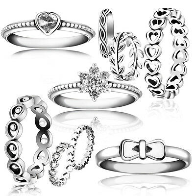 Authentic S925 Sterling Silver Ring Star Trail Stackable For Female Wedding Gift