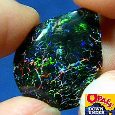 Stunning Multi-Colored 6ct Australian Solid Black Matrix Boulder Opal * Video