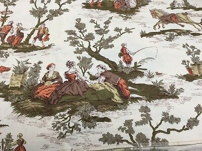 """Waverly Bonded Vintage Victorian Toile Fabric """"Four Seasons""""  2"""" Shy Of 2 Yards"""