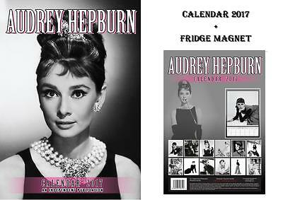 Audrey Hepburn 2017 Calendar + Audrey Hepburn Fridge Magnet - In Stock Now