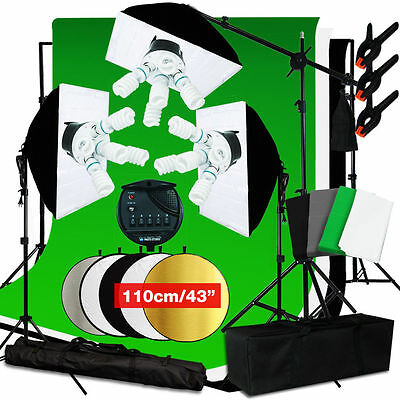 Photo Studio 3000W Softbox Continuous Lighting kit Boom arm Backdrop Light Stand