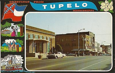 Greetings from Tupelo, MISSISSIPPI -old cars, flag, riverboat, plantation, Elvis