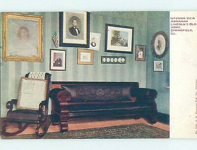 Pre-1907 COUCH AND CHAIR AT ABRAHAM LINCOLN HOME Springfield Illinois IL A2867
