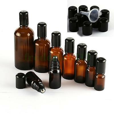 Amber Glass Roll-on Bottle Empty Roller Ball Aromatherapy 5/10/15/20/30/50/100ML