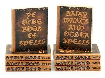 1;12 Scale Two Non Opening Dolls House Books Of Spells Stationery Library Study