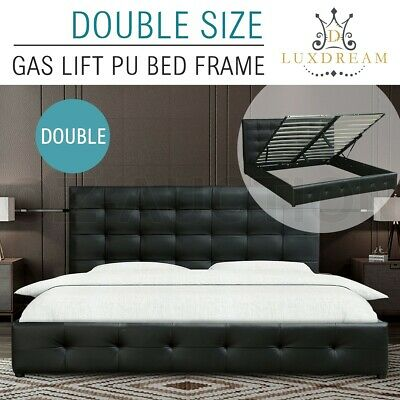 LUXDREAM Gas Lift Storage Double Size PU Leather Bed Frame Sturdy Steel Black